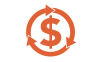 money icon with arrows around it